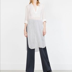 Zara women studio long linen tunic